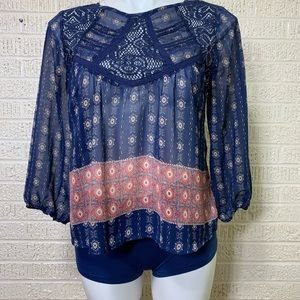 Love, Fire Blue Lace Paneled Sheer Blouse Size S